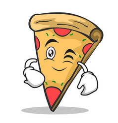 Wink face pizza character cartoon vector