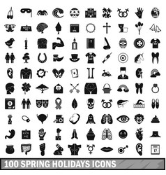 100 spring holidays icons set simple style vector image