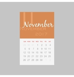 Calendar 2017 months November Week starts Sunday vector image