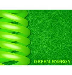 Ecological lightbulbs on a green background vector