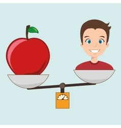 man cartoon fruit apple balance vector image