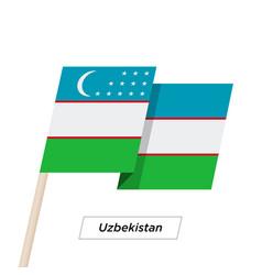 Uzbekistan ribbon waving flag isolated on white vector