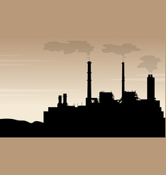 silhouette of industry with pollution scenery vector image