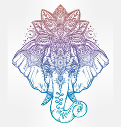 Decorative elephant with lotus mandala crown vector