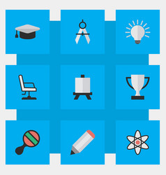 Set of simple knowledge icons elements easel vector