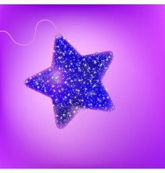 Postcard with a twinkling purple star eps 8 vector