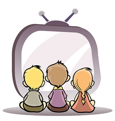 Children watching tv vector