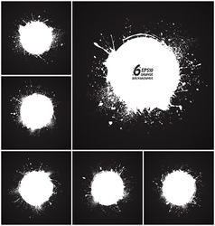 6 abstract round grunge backgrounds vector image