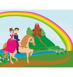 Prince and princes riding on horse vector