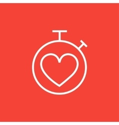 Stopwatch with heart sign line icon vector