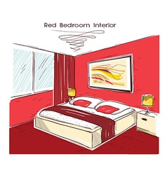 Red bedroom interior hand drawing vector