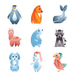animals in a geometric flat style with the use of vector image