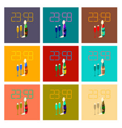 Assembly flat champagne christmas clock vector