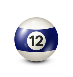 Billiardblue pool ball with number 12snooker vector