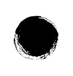 Black grungy abstract hand-painted circle vector image