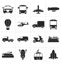 Black Transportation and travel icons vector image vector image