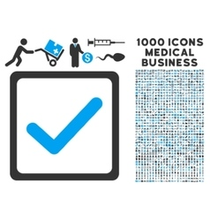 Checkbox icon with 1000 medical business symbols vector