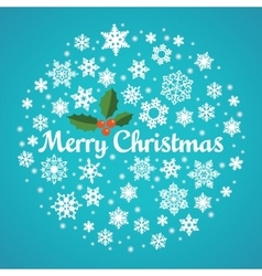 Christmas snowflake round hand drawn card vector image