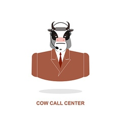 Cow call center bull with headset farm animal vector