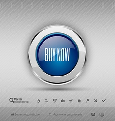 design elements Blue and gray glossy button with vector image vector image