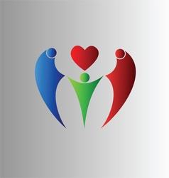 Family symbol with heart vector image