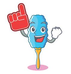 Foam finger feather duster character cartoon vector