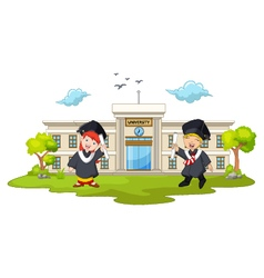 Graduation celebration with background building ca vector