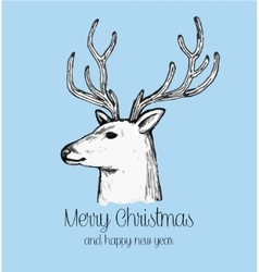Hand drawn reindeer face holiday greeting card vector