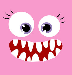 Happy pink monster close up vector