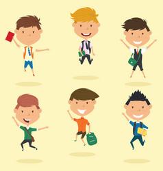 happy school boys jumping outdoor vector image vector image