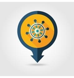 Helm pin map flat icon summer marine vector