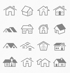 Home outline stroke symbol icons vector image