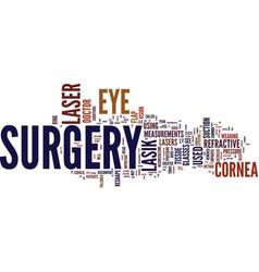 Lasik laser eye surgery text background word vector