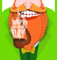 leprechaun smokes pipe patricks day smoking set vector image vector image