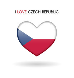 love czech republic symbol flag heart glossy icon vector image vector image