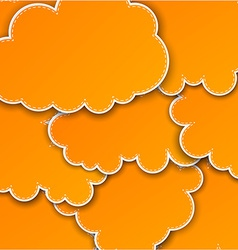 Paper orange paper cloud background vector
