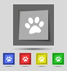 Paw icon sign on original five colored buttons vector