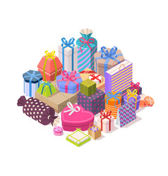 Pile of colorful gift boxes vector