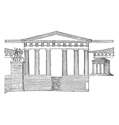 Propylea restored temple of nike apteros vintage vector