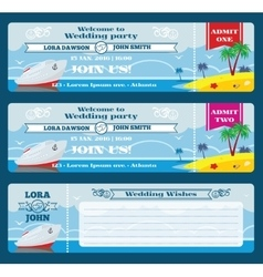 Retro boarding pass ticket wedding invitation vector