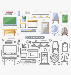 school classroom furniture set in flat style vector image vector image