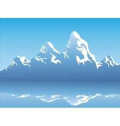 snow mountain reflection vector image