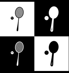 Tennis racquet with ball sign black and vector