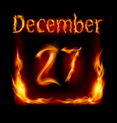 twenty-seventh december in calendar of fire icon vector image