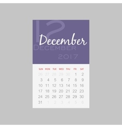 Calendar 2017 months december week starts sunday vector