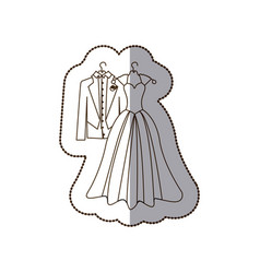 elegant jacket and dress married icon vector image