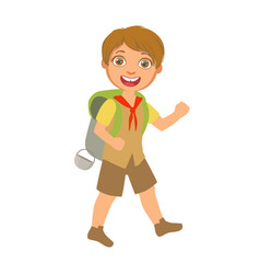 smiling boy scout carrying a tourist backpack a vector image