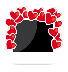 Photo frame with hearts vector