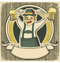 Oktoberfest vintage label with man and glasses of vector