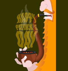 Happy patricks day leprechaun smokes pipe smoking vector